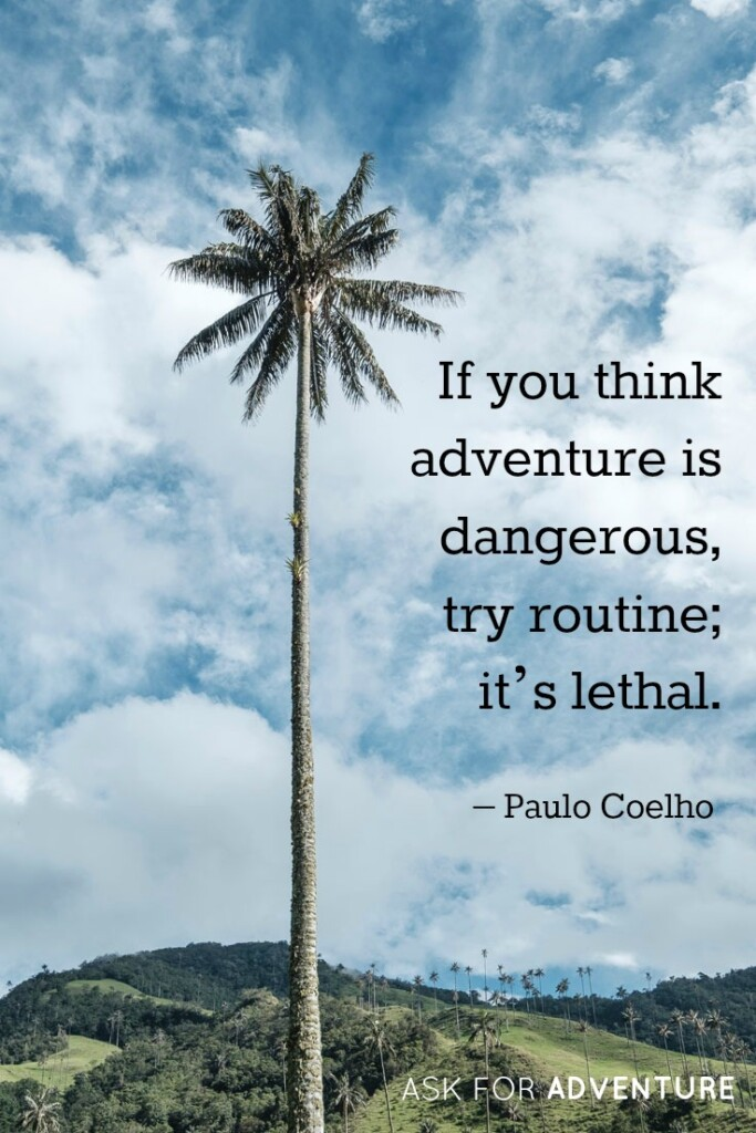 If you think adventure is dangerous, try routine; it's lethal. -Paulo Coelho