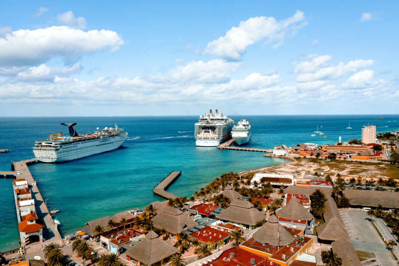 cruise ships setting in a harbor in mexico