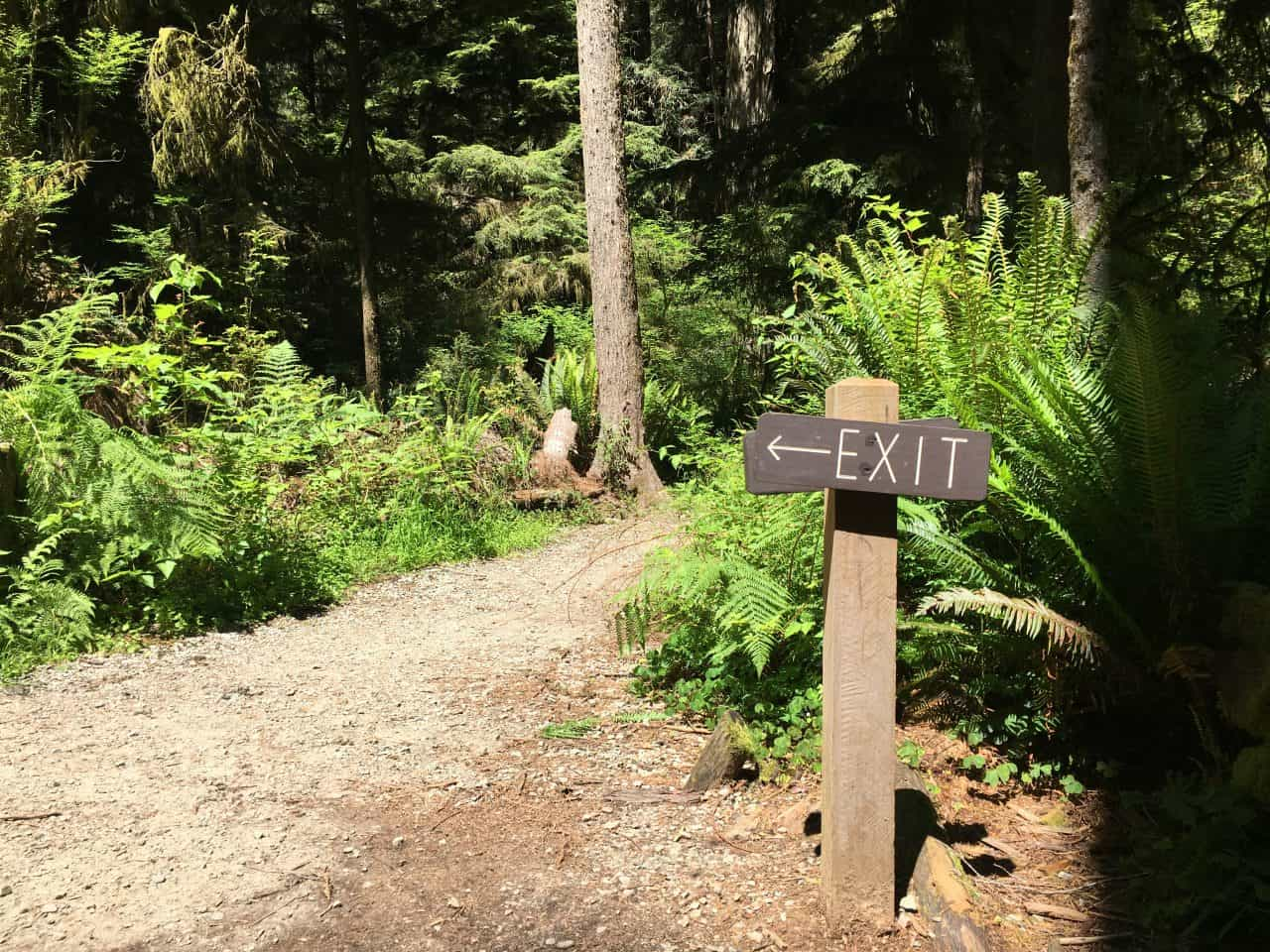exit sign from crescent city redwoods