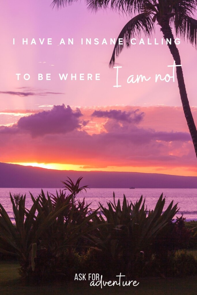 travel quote 110 | I have an insane calling to be where I am not.