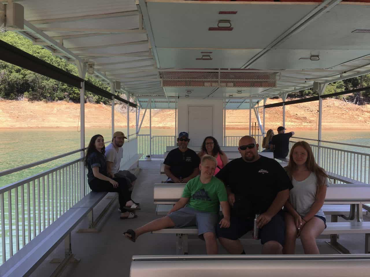 riding on boat to the shasta caverns