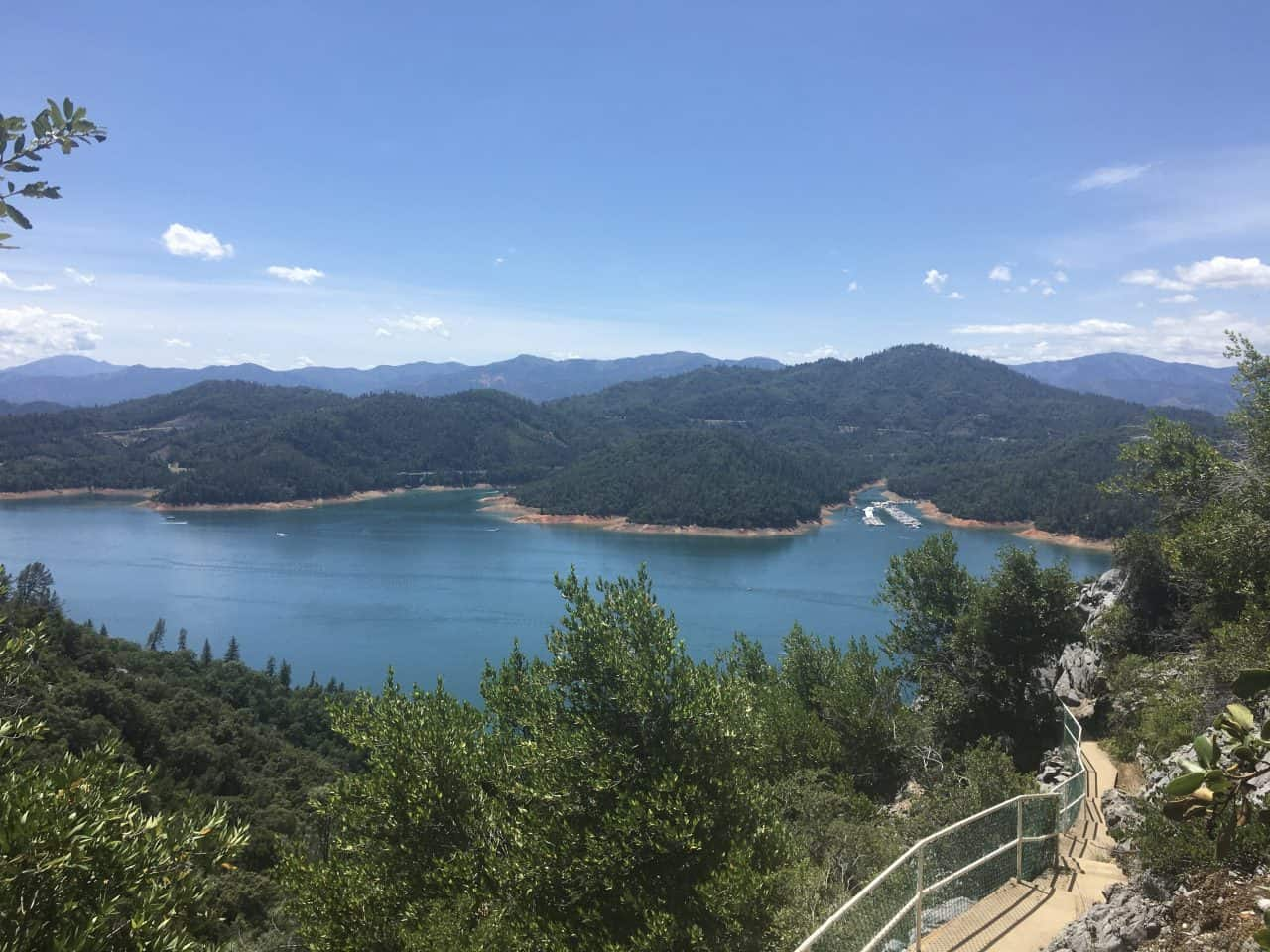 view of lake shasta after exiting the caverns