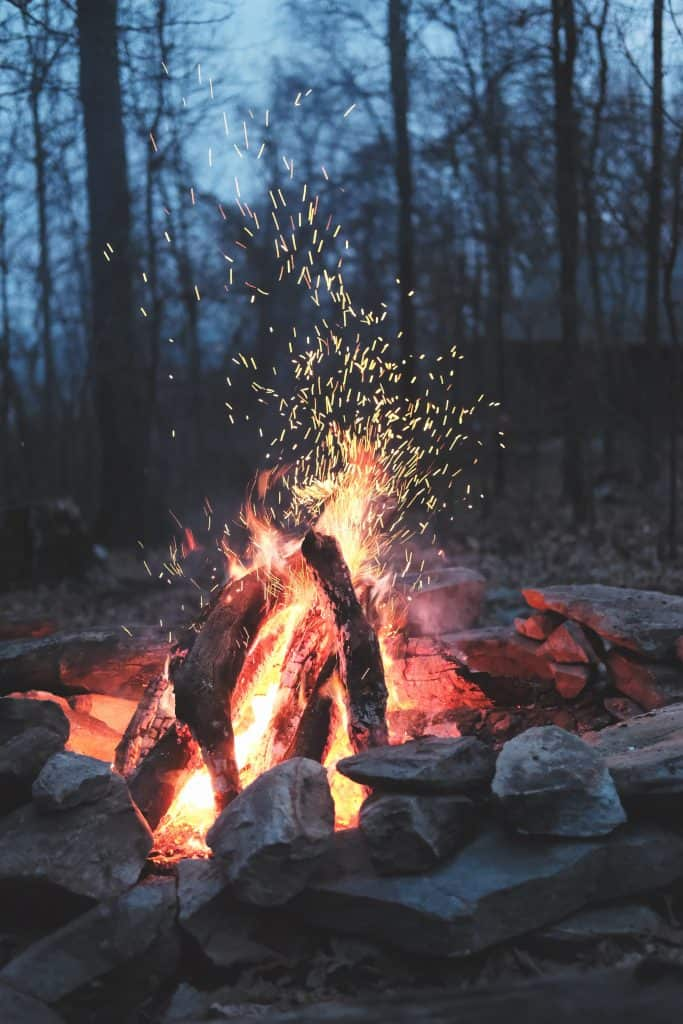 camp fire at a campground