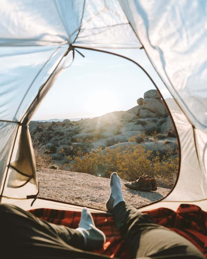 looking out of a tent