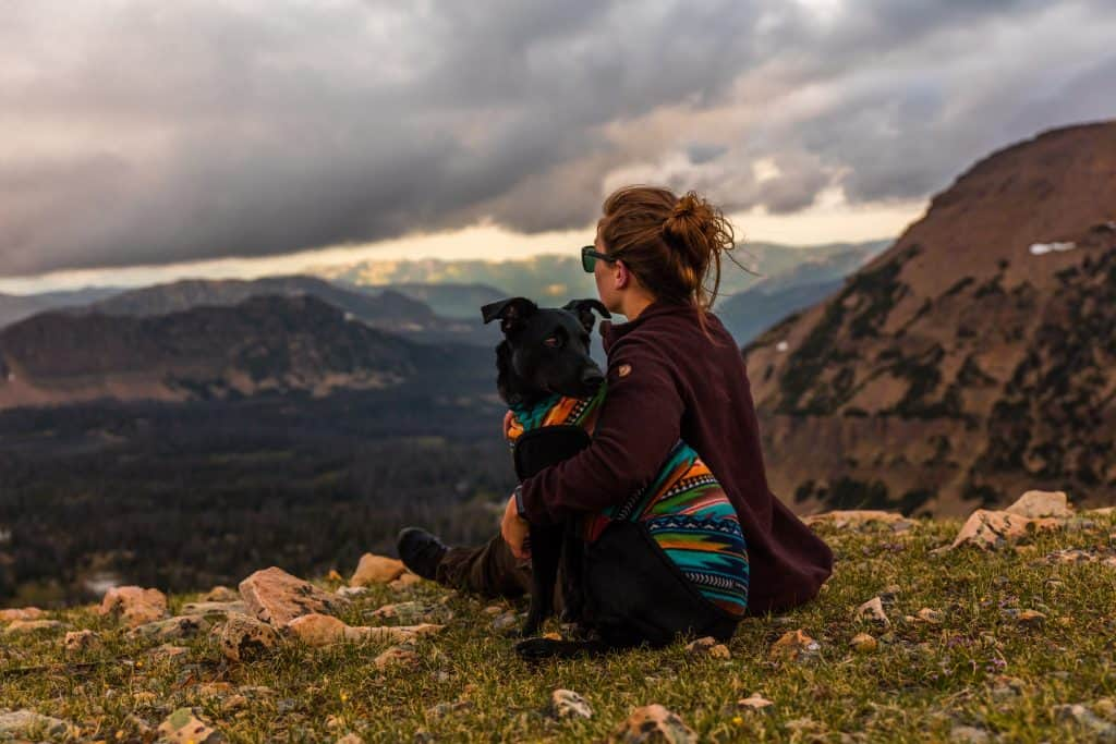 woman looking over mountain with her dog