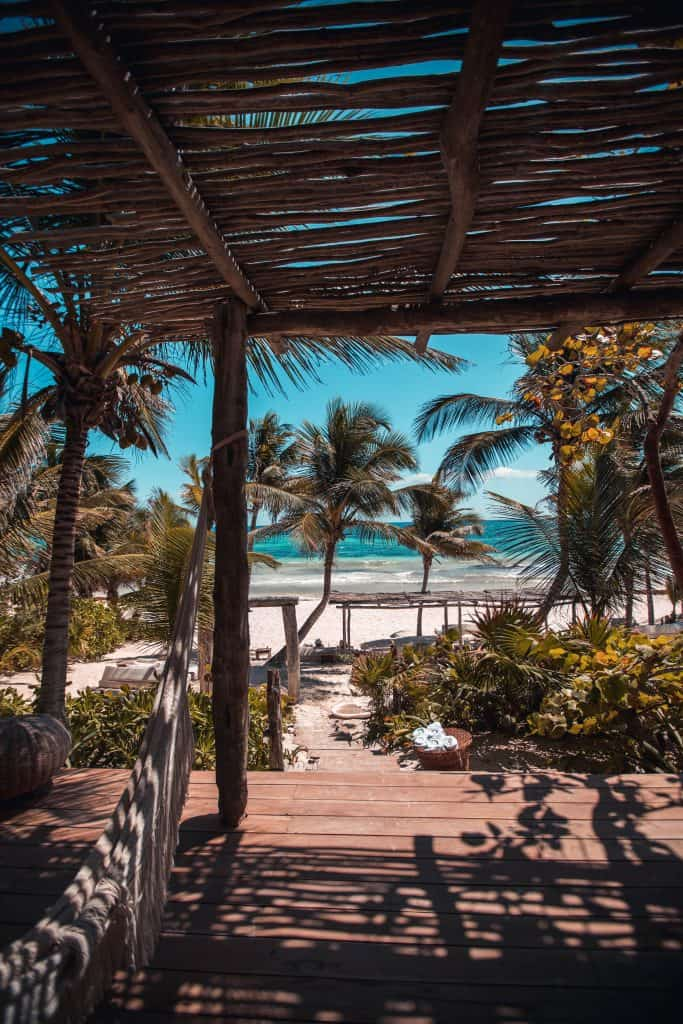 covered deck on the beach in mexico