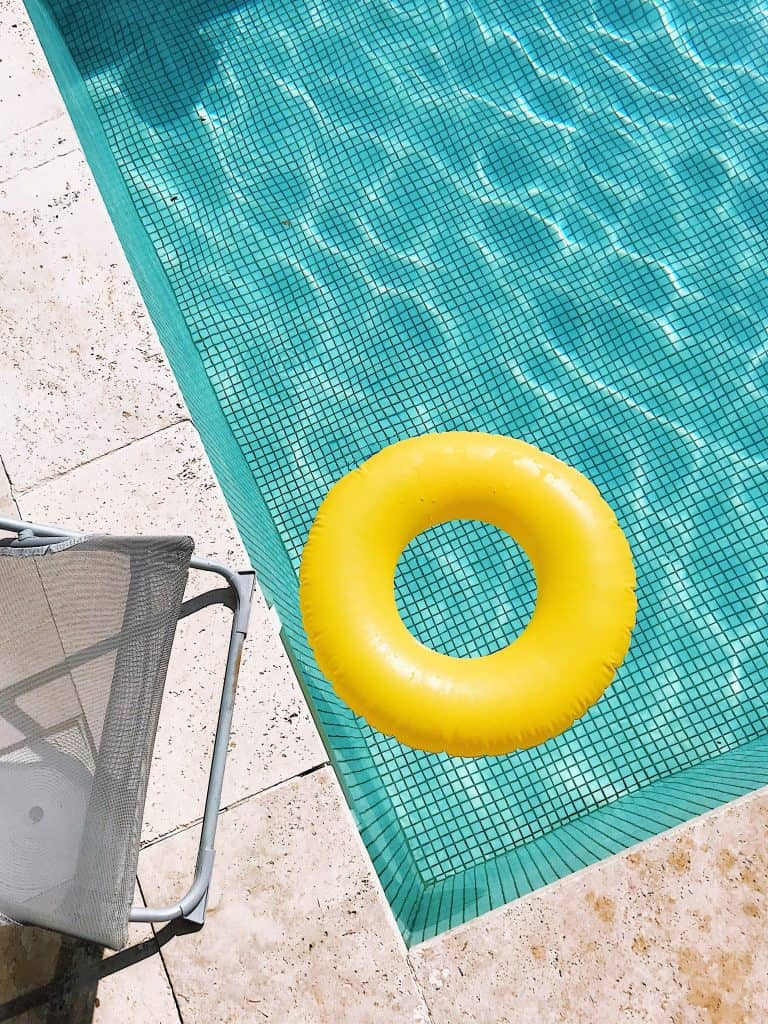 pool toys in a pool