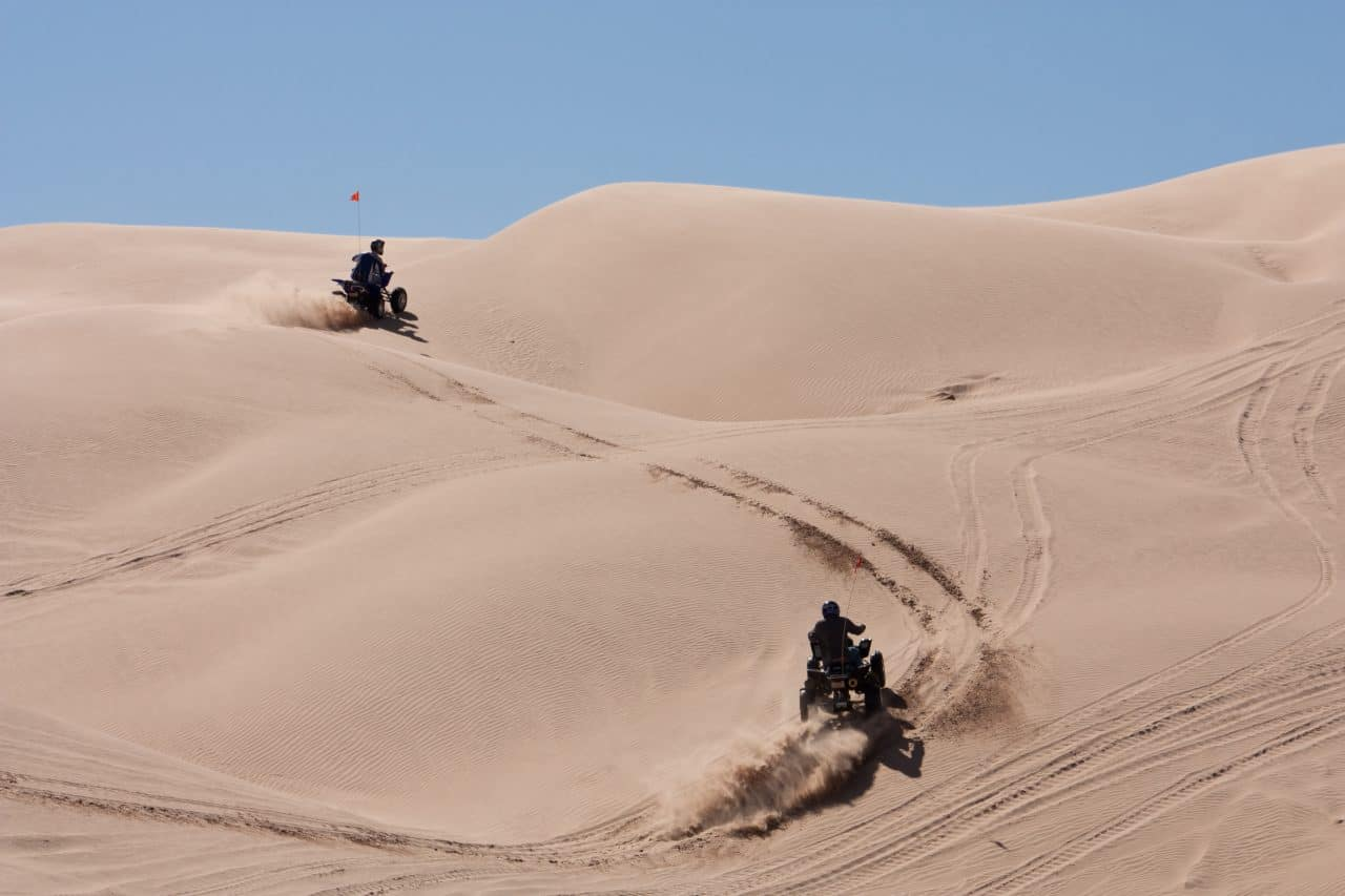 Two ATV rentals in the Oregon Dunes riding up a big dune hill.