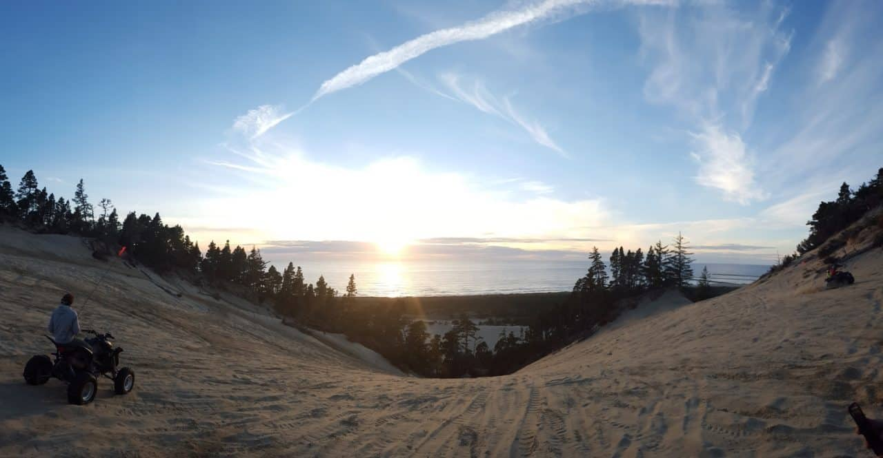 View of sunset from the Oregon Sand Dunes in Winchester Bay.