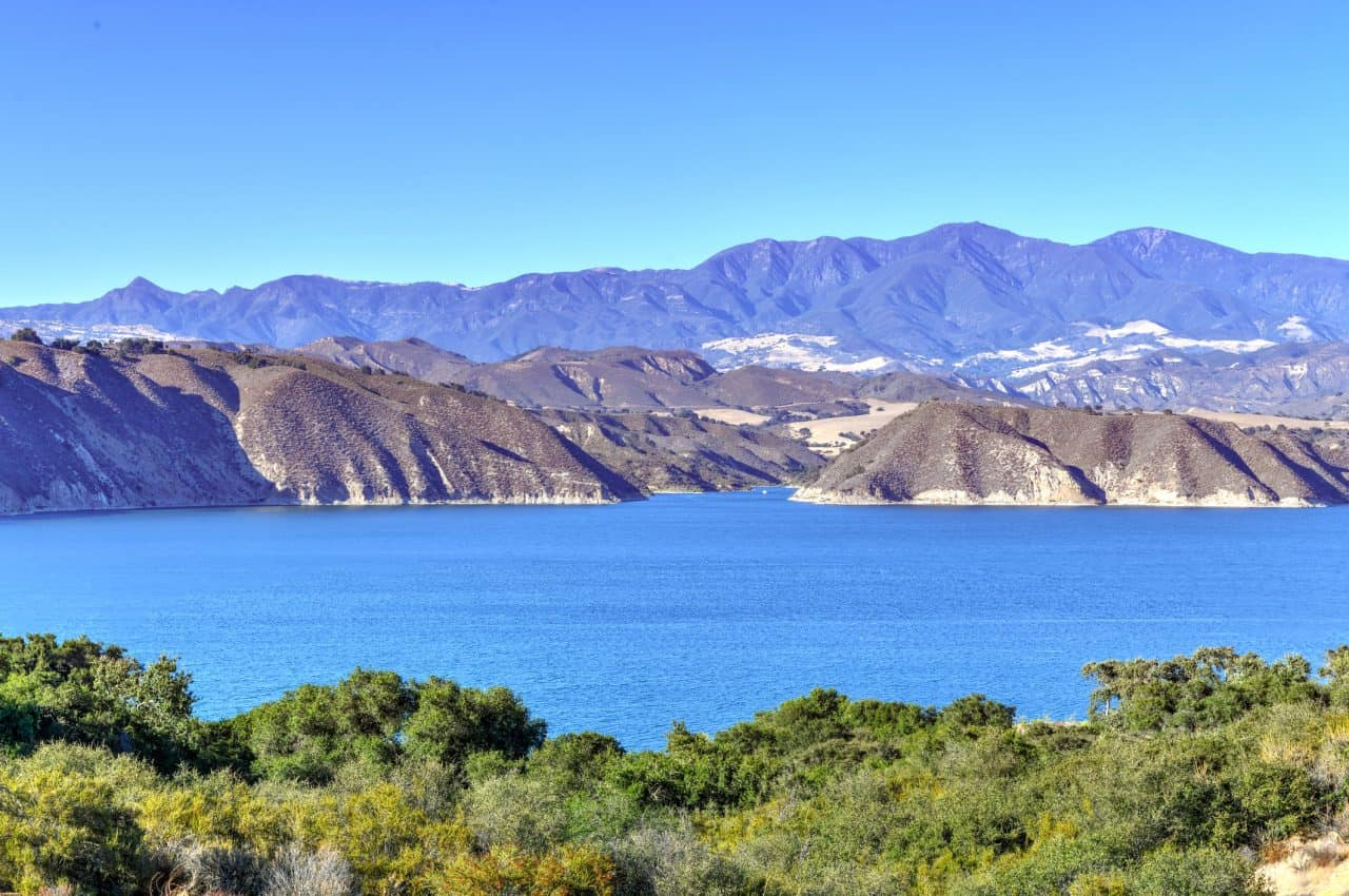 Cachuma Lake with mountains in the background.