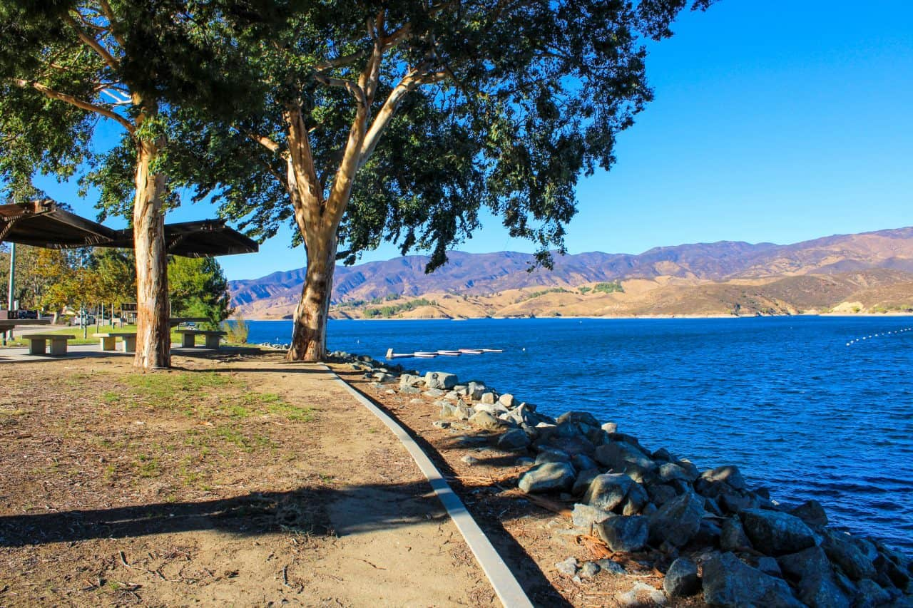 A park that sits along side Castaic Lake.
