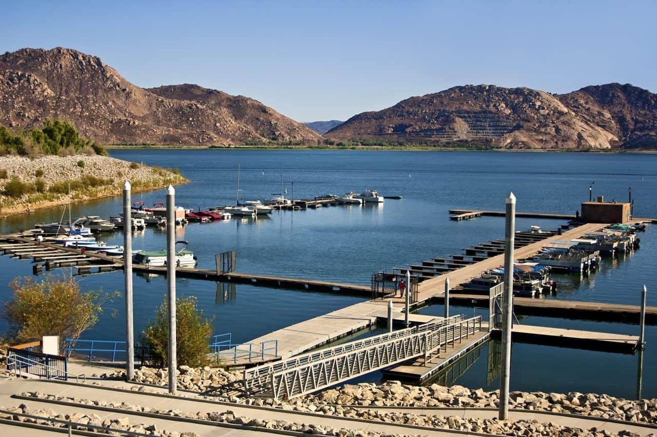 Marina and boats docked at Lake Perris.