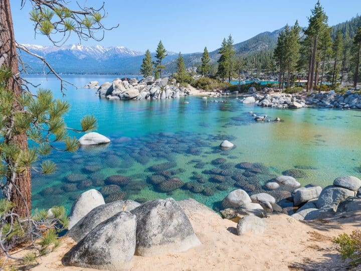 Clear blue waters of Lake Tahoe.