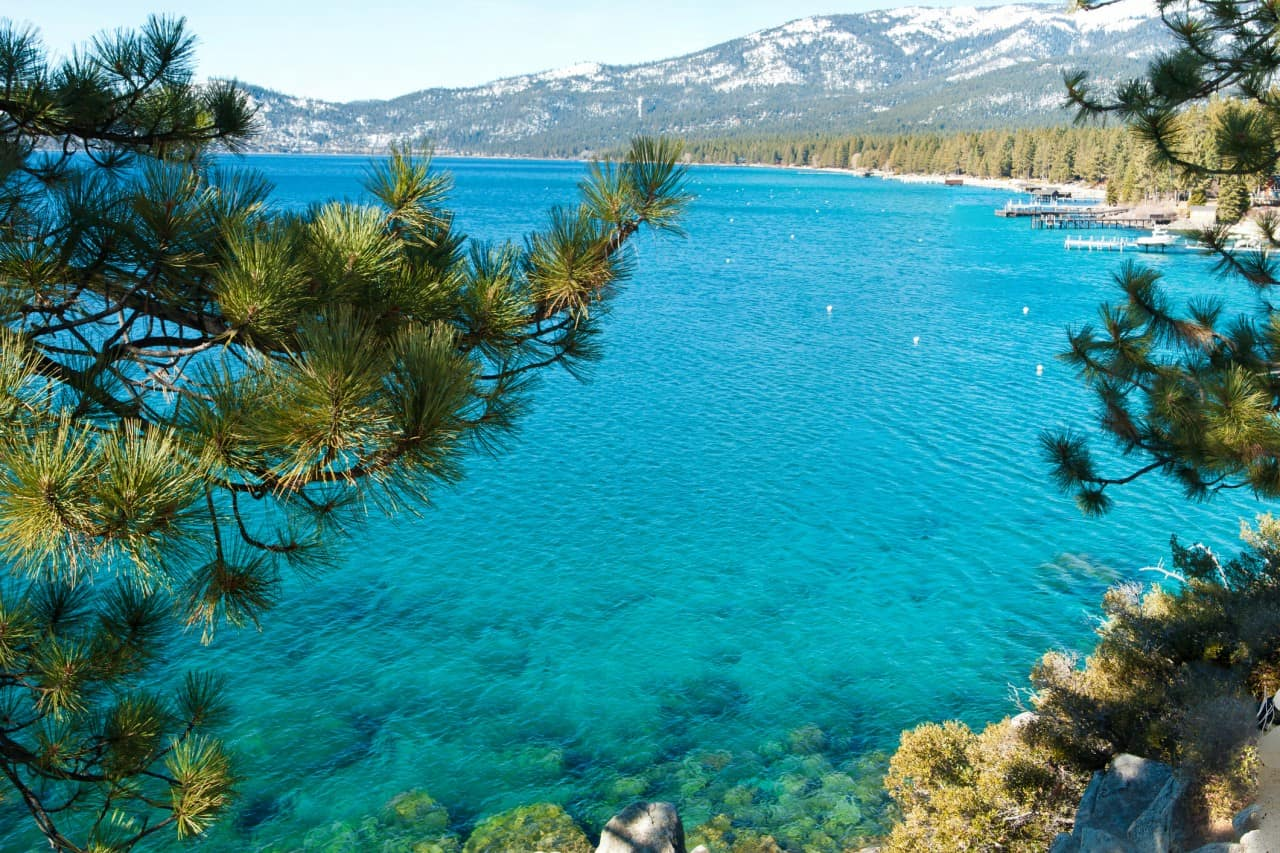 A view of the beautiful blue waters of Lake Tahoe.