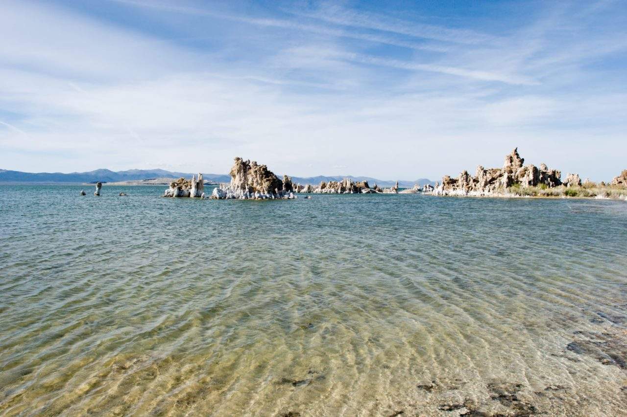 Mono lake with tufa formations in California.