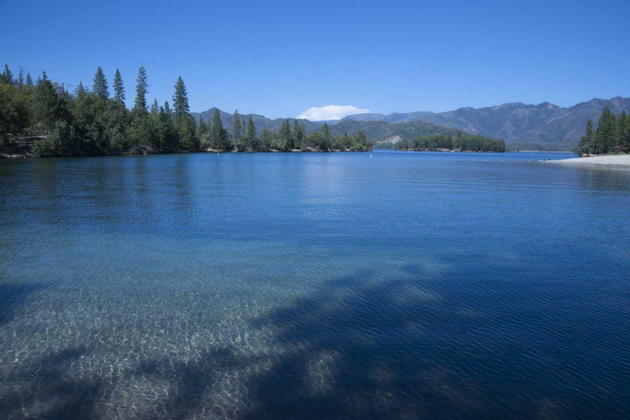 Clear blue waters of Whiskeytown Lake.