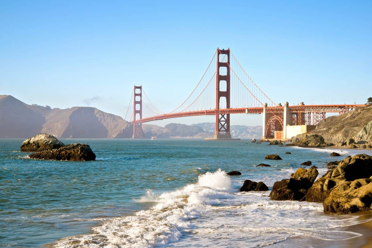 A view of the waters and Golden Gate Bridge at Baker Beach.