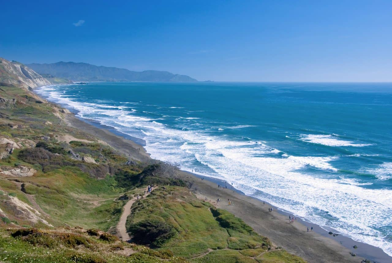 View of Fort Funston Beach in California.