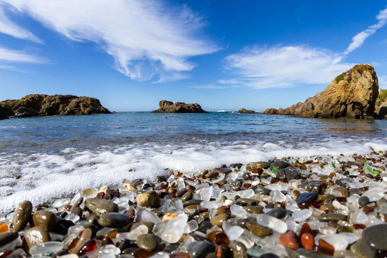 Colored glass pieces at Glass Beach in California.