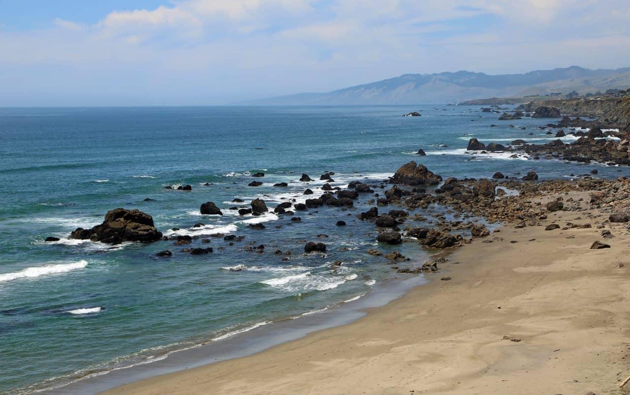 The shoreline of North Salmon Creek Beach in Northern California.