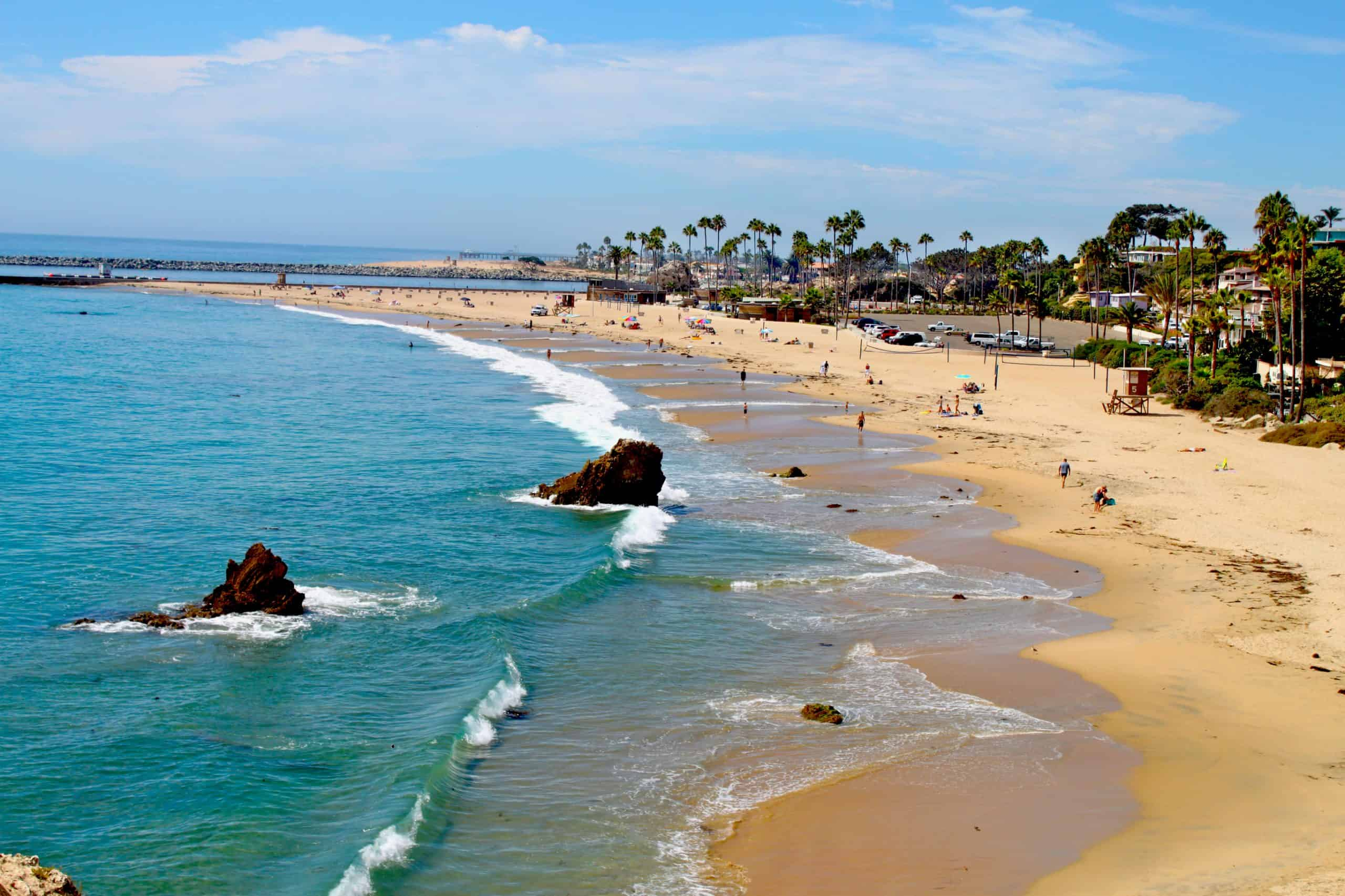 Blue water and sand at Corona Del Mar State Beach.