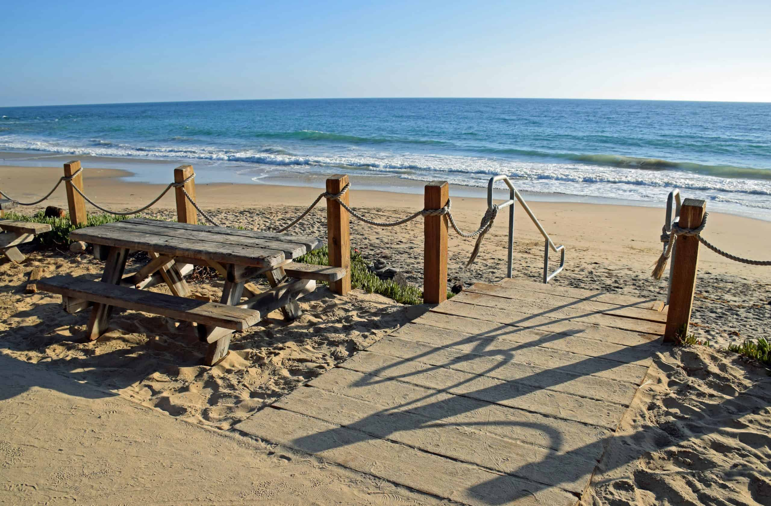 Stairs to the beach at Crystal Cove State Park.