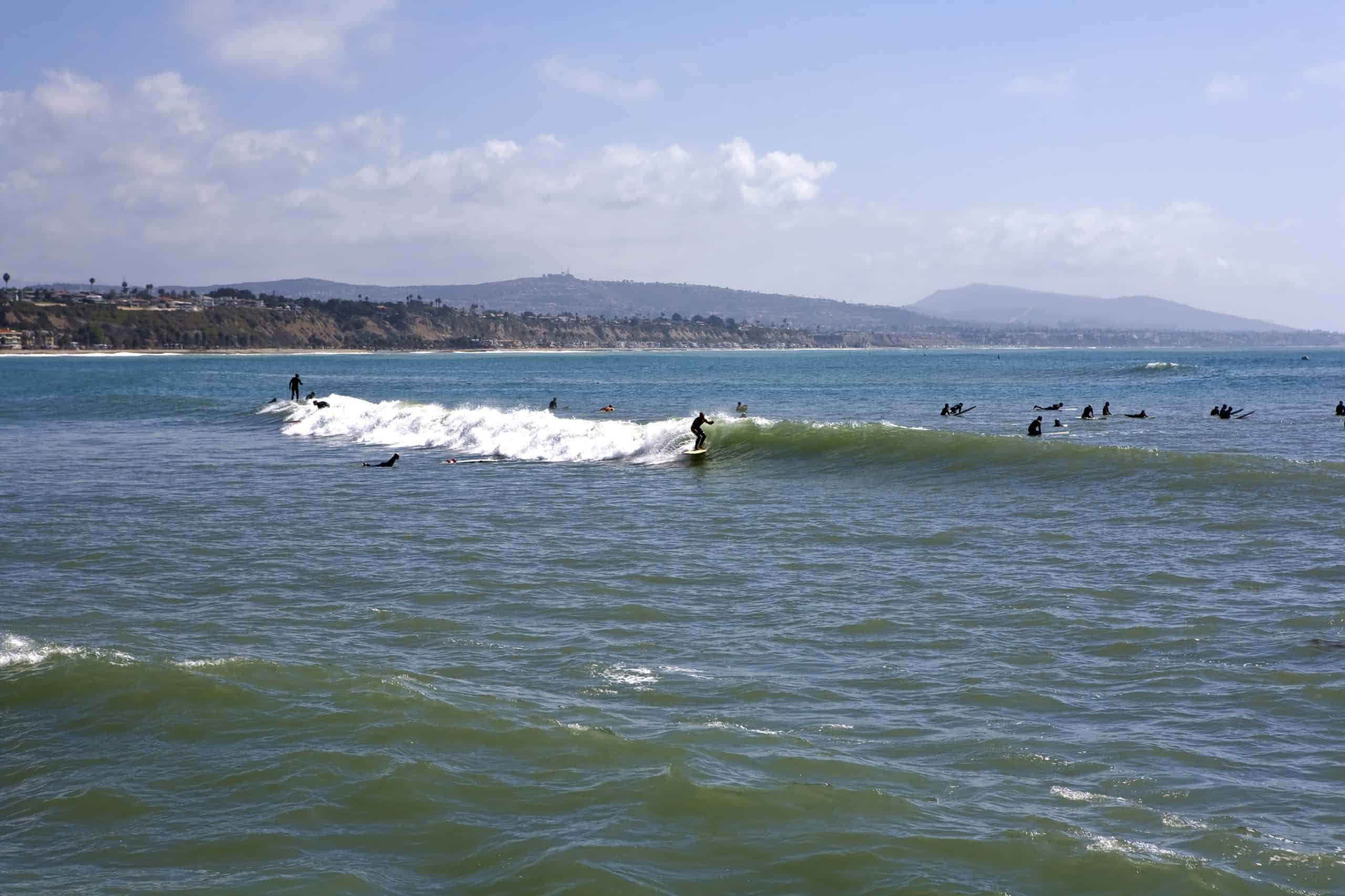 Surfers at Doheny State Beach in Southern California.