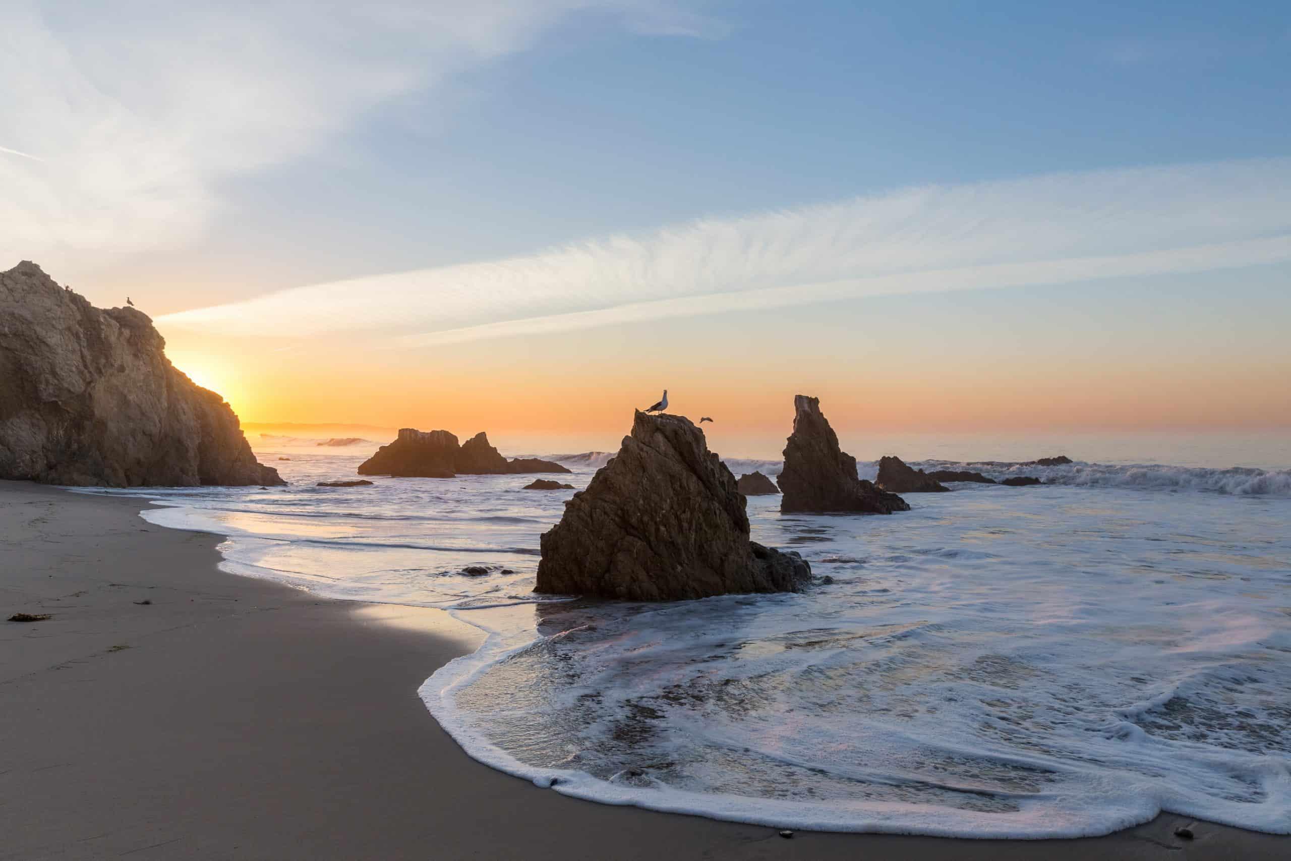 Rocks and sunset at El Matador Beach.