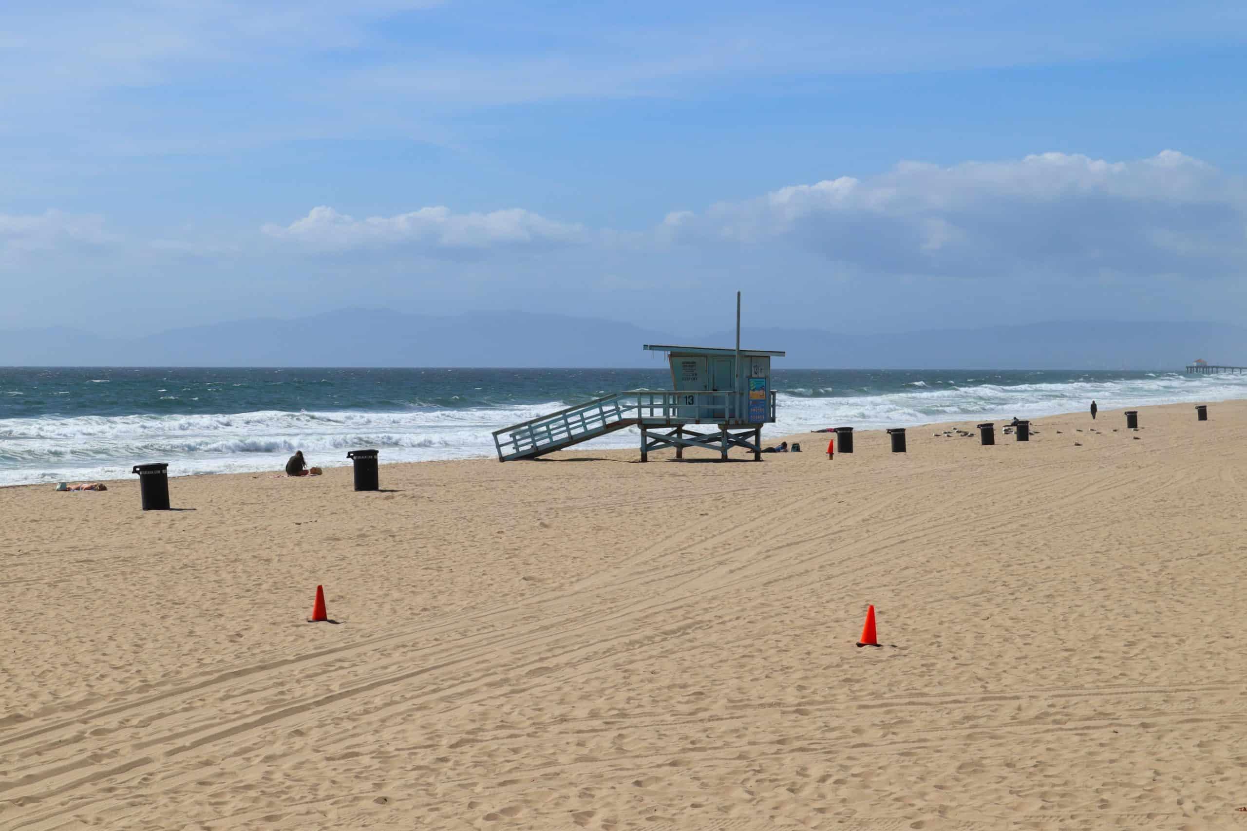 View of sandy Hermosa Beach in California.