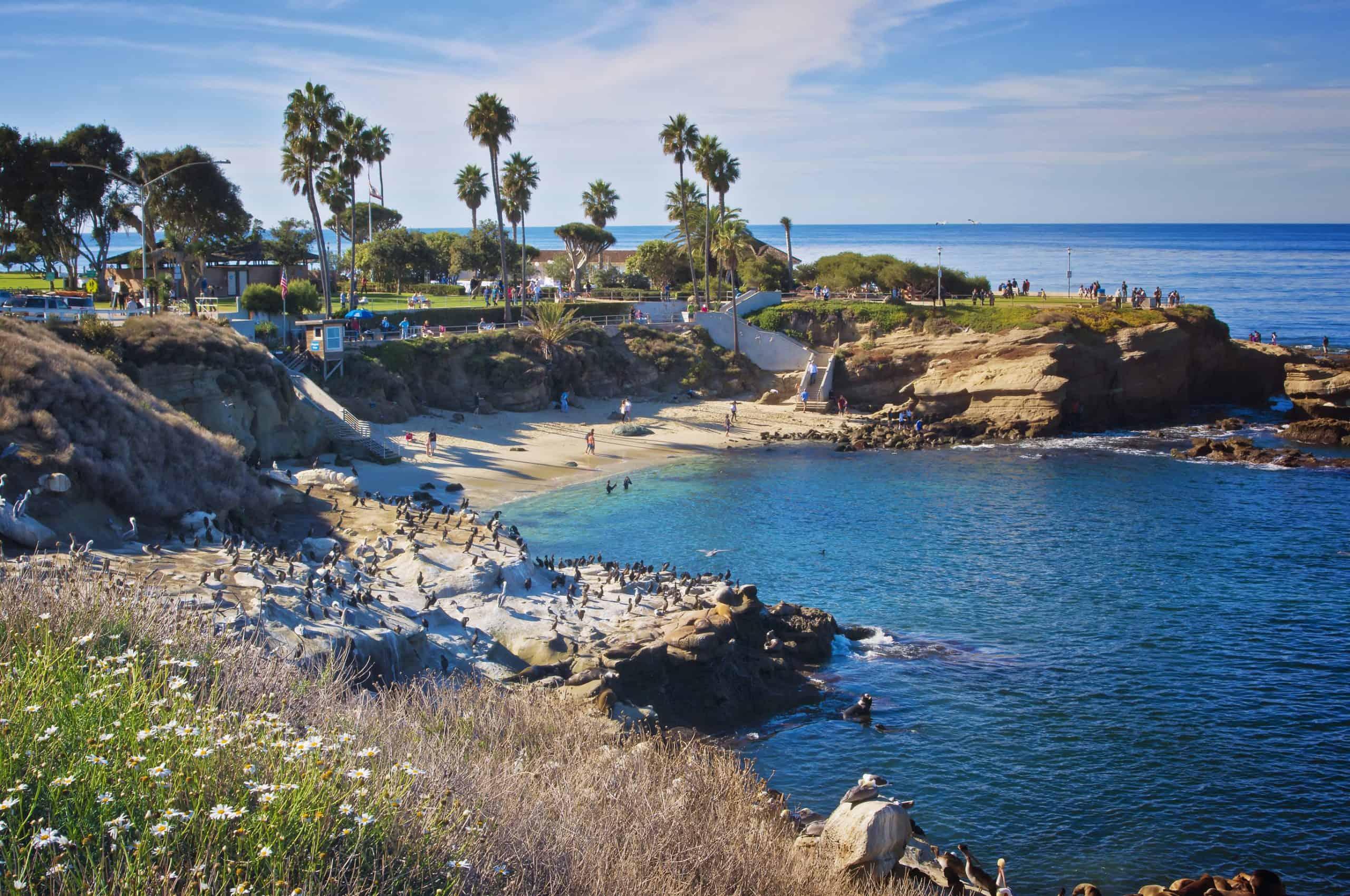 Blue waters of La Jolla Cove Beach in Southern California.