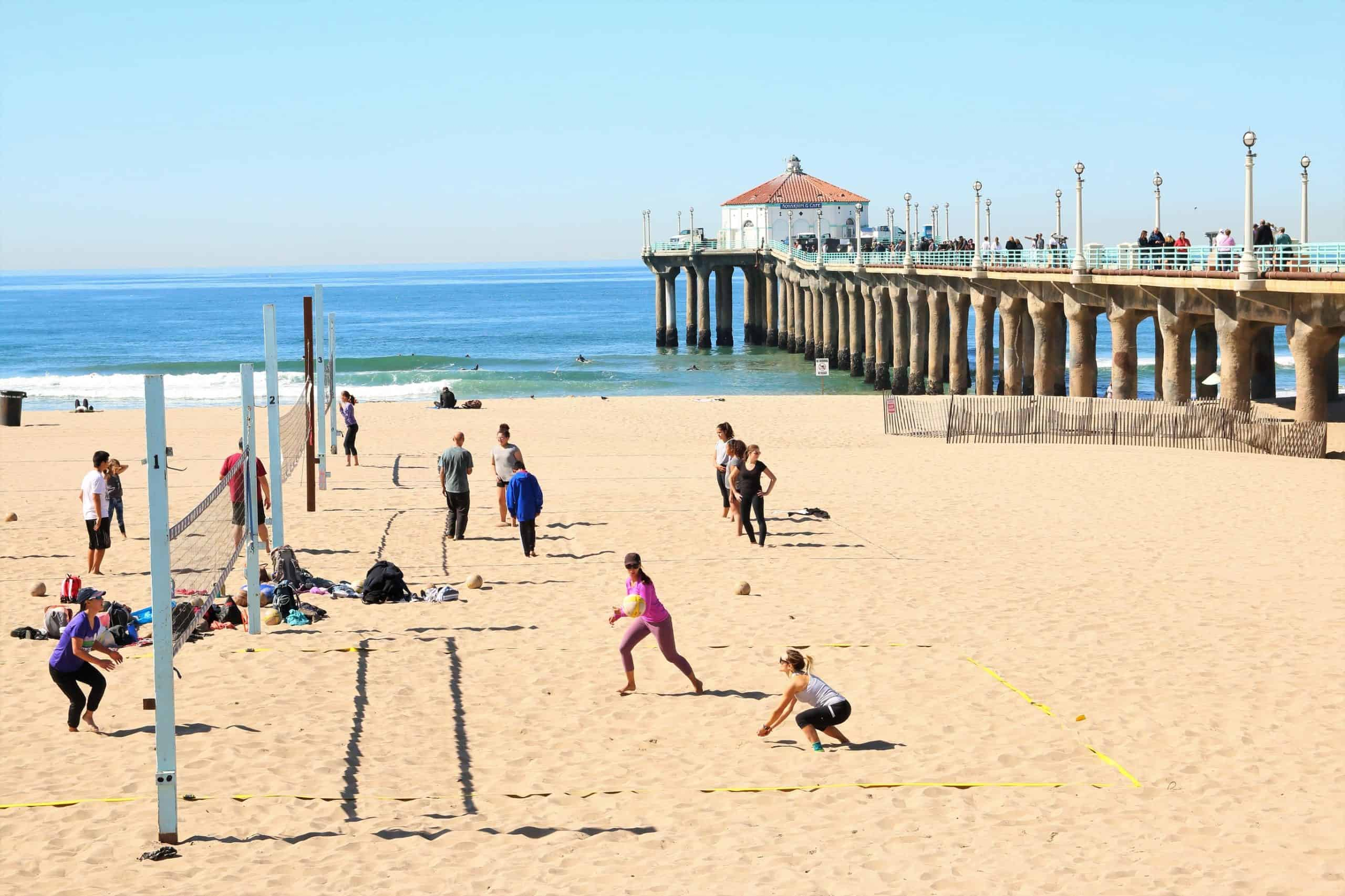 People playing volleyball at Manhattan State Beach.