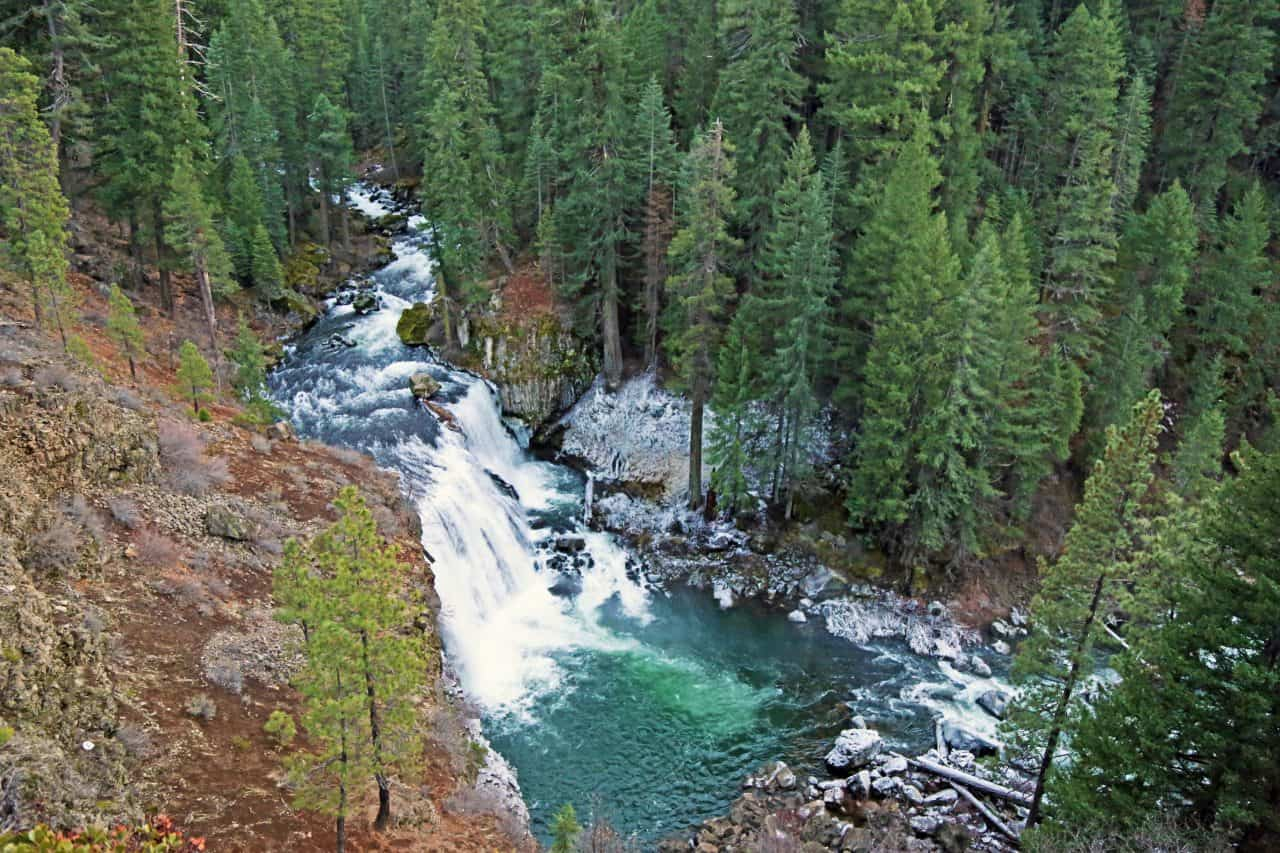 Looking down on Middle McCloud Falls.