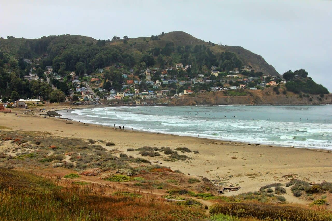 Pacifica State Beach with town in the background.