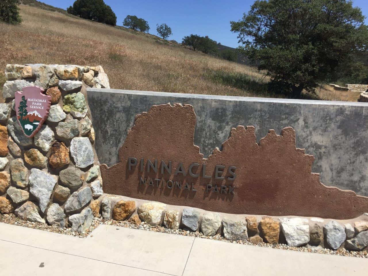 The entrance sign to Pinnacles National Park.