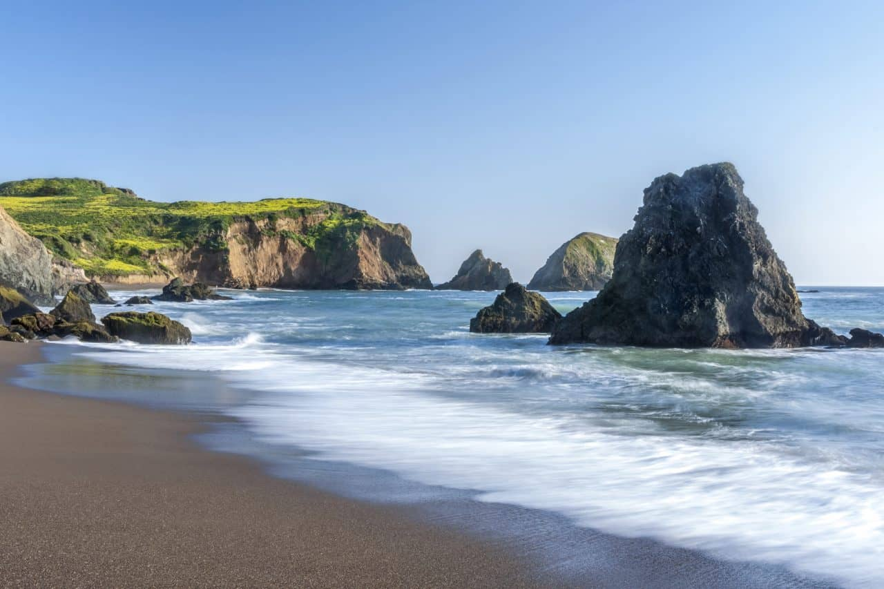 Rocks and waves at Rodeo Beach.
