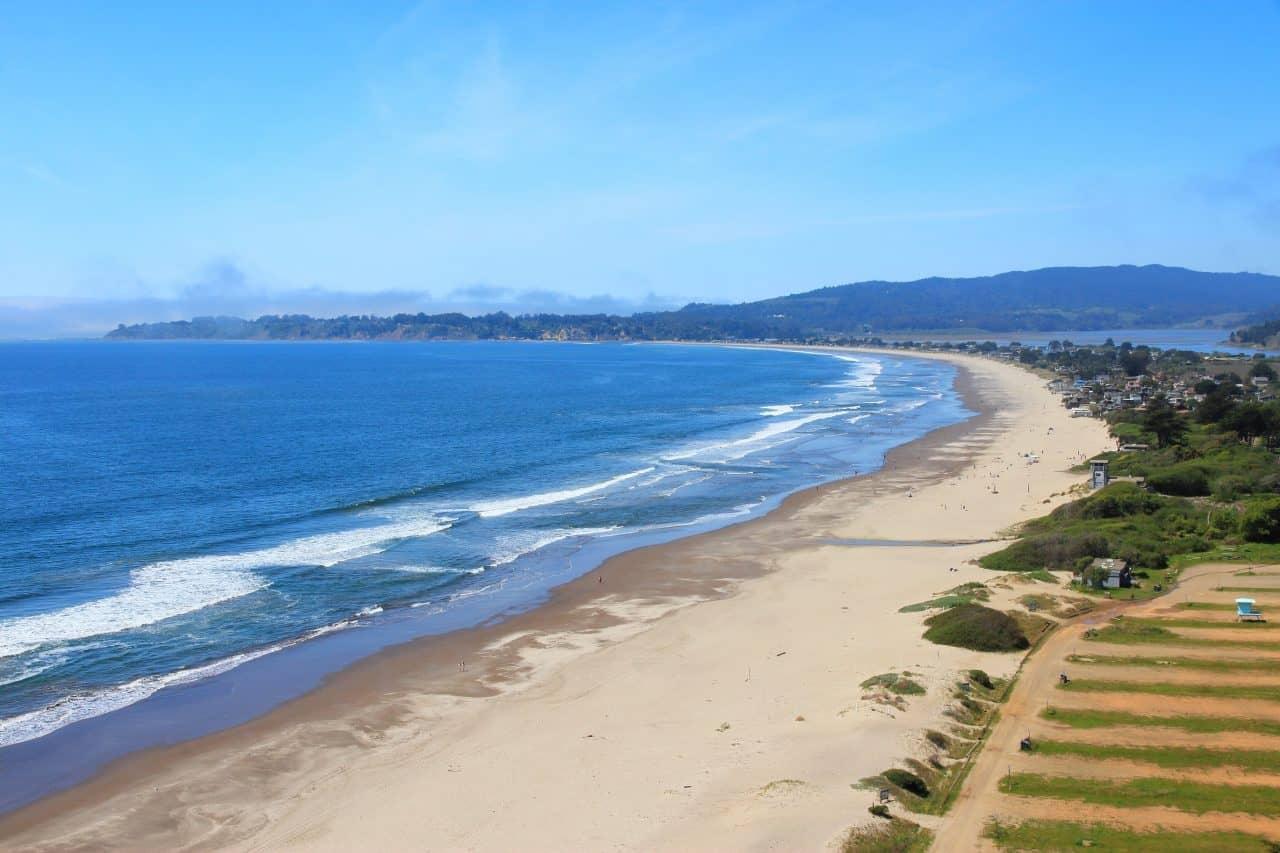 View of ocean and Stinson Beach in California.