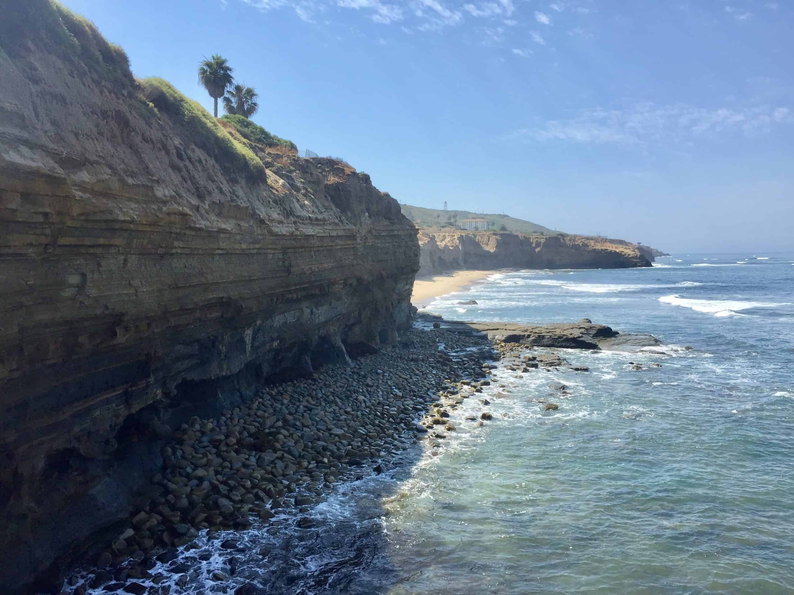 Rocky coastline and waters at Sunset Cliffs Natural Park Beach.