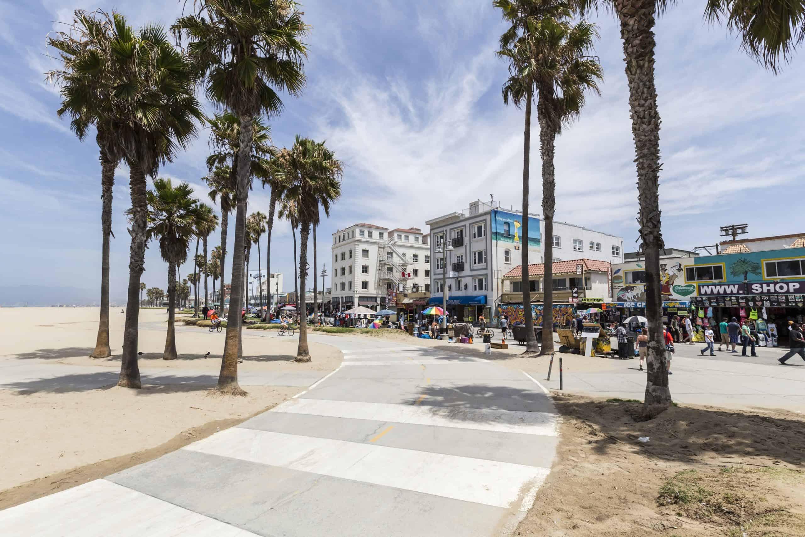 Venice Beach boardwalk in Southern California.