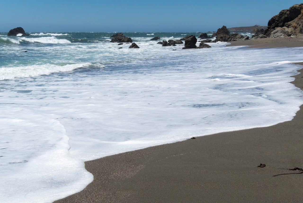 Waves on the sand in Sonoma County.