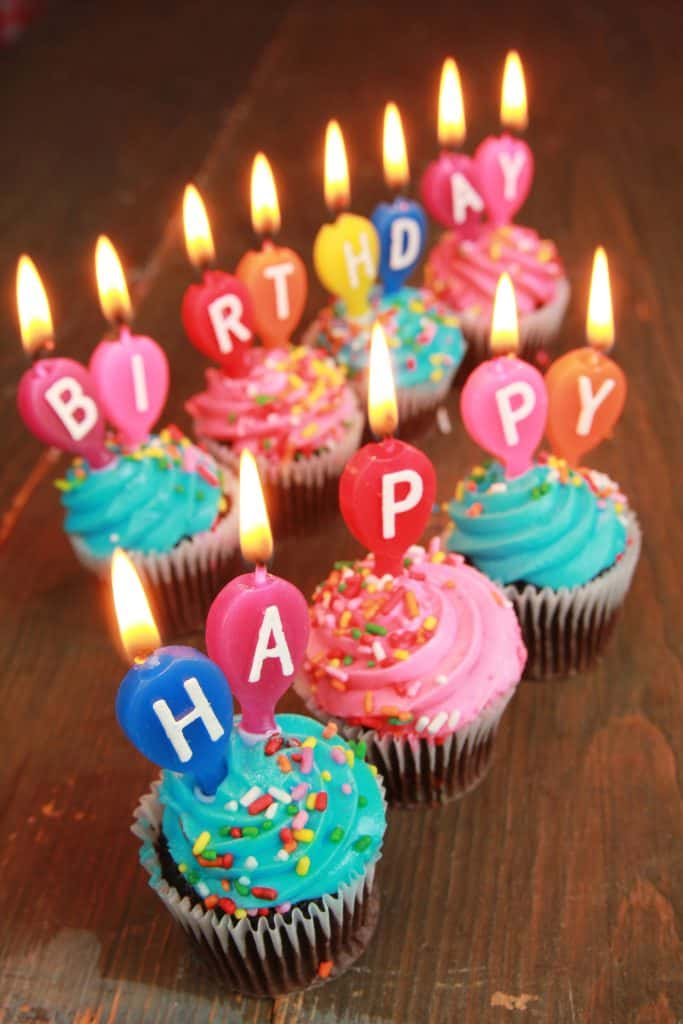birthday cupcakes and candles