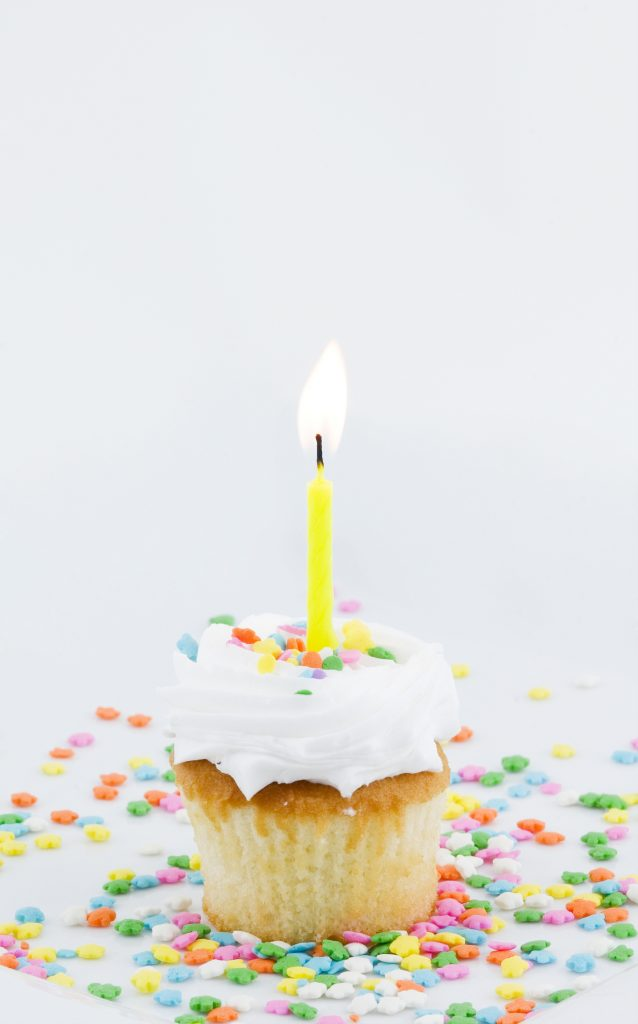 cupcake with a candle on it
