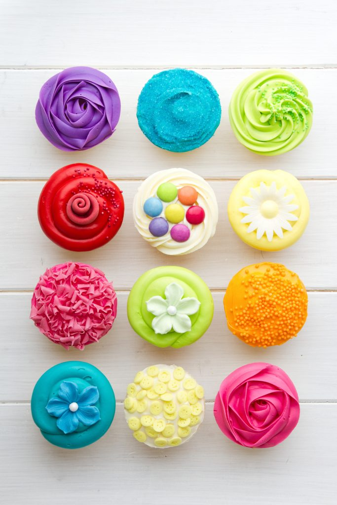 colorfully decorated cupcakes