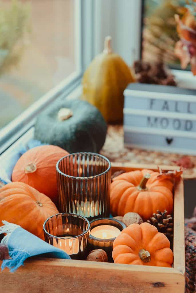 fall decor and candle