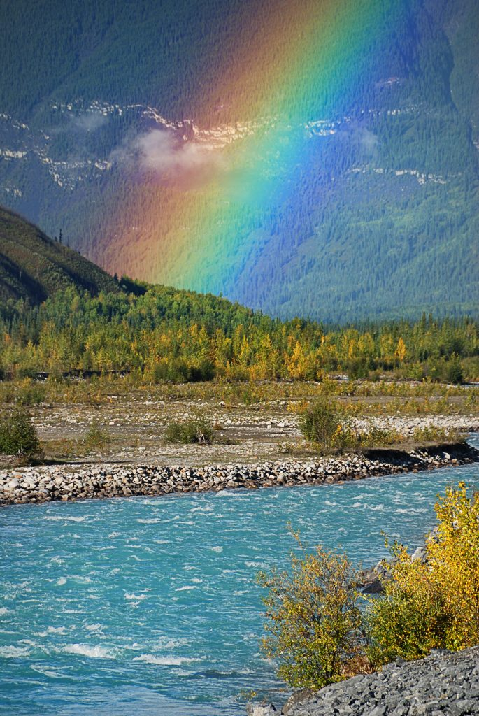 rainbow by the river