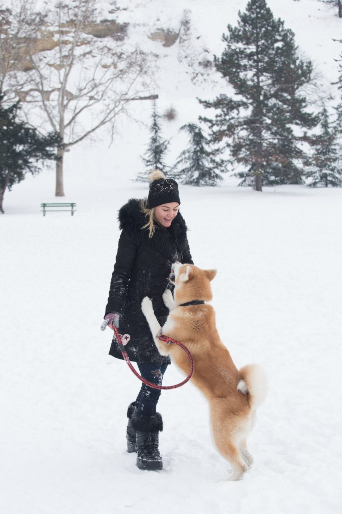 woman in snow with dog