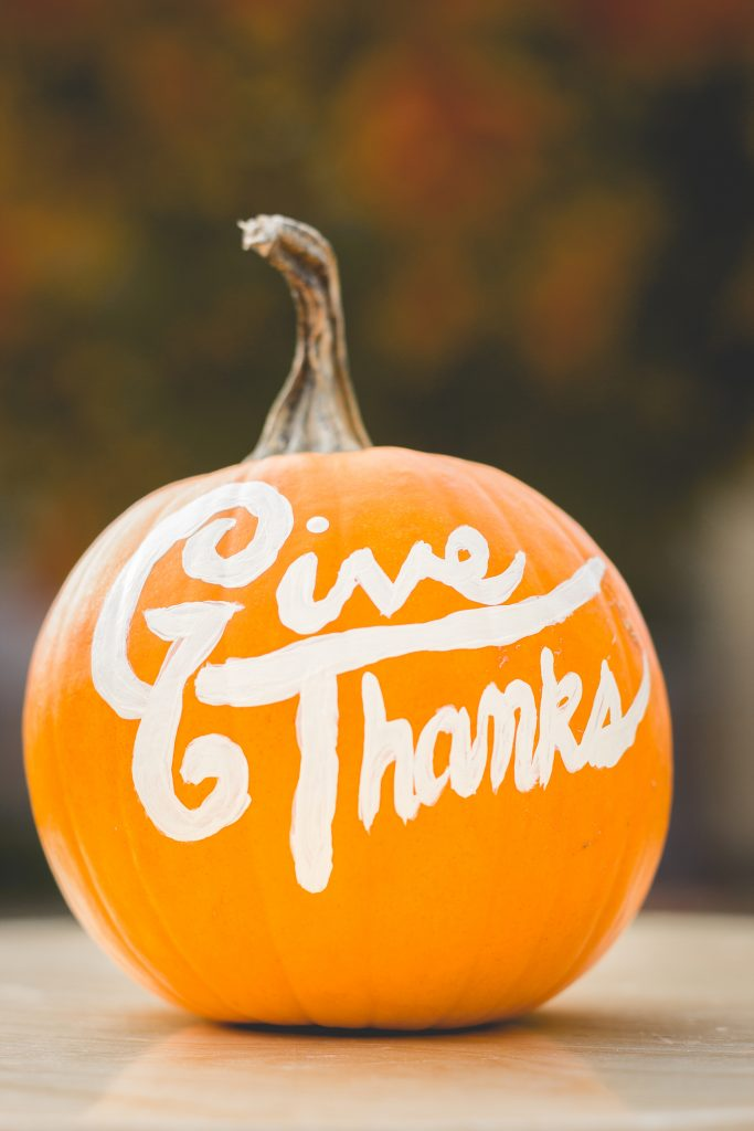pumpkin that says give thanks