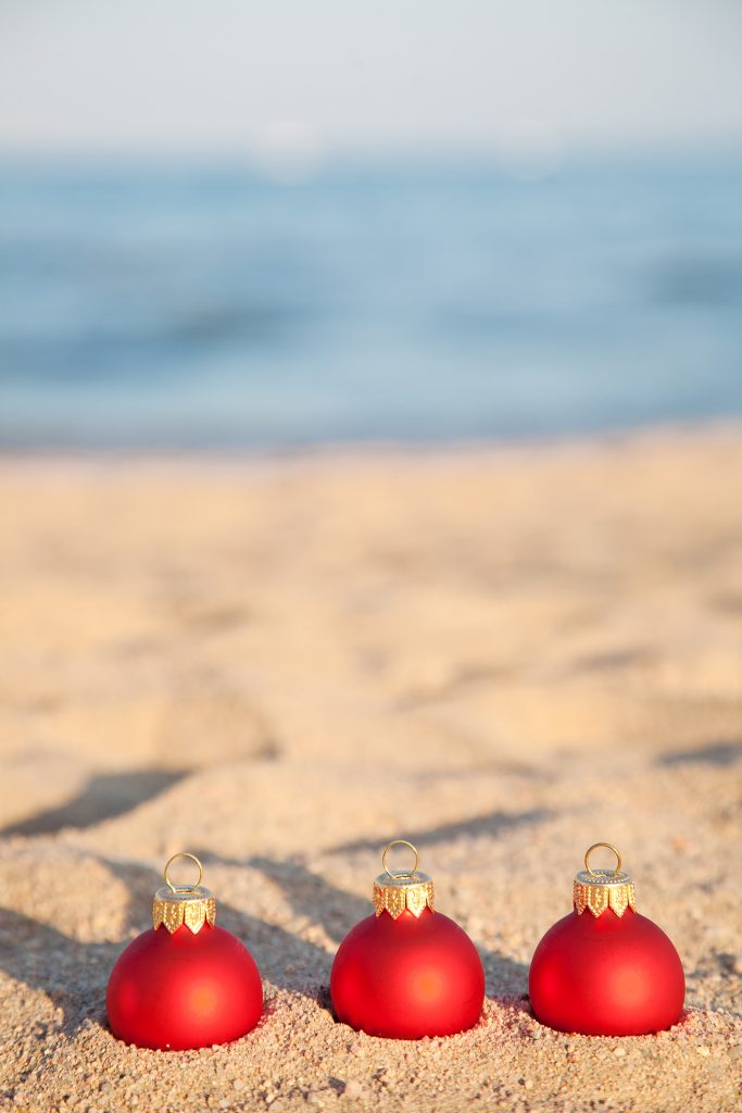 christmas ornaments at the beach